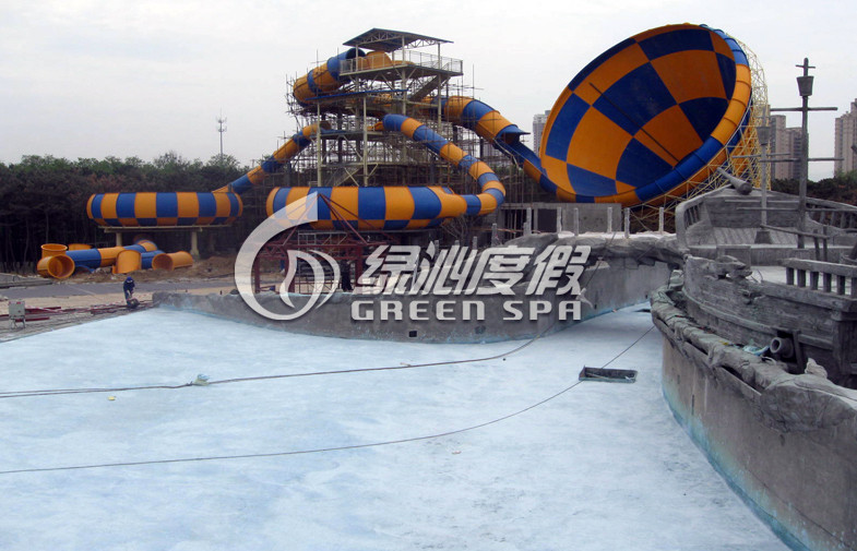 Water Park Construction Colorful Fiberglass Tornado Water Slide with Park Play Equipment